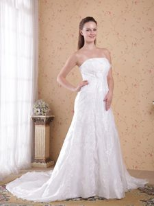 White Strapless Organza and Satin Beaded Wedding Dresses with Court Train