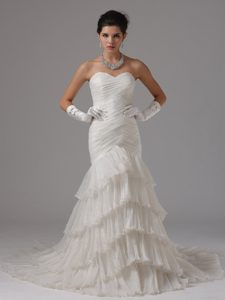 Ready to Wear Mermaid Ruched Wedding Gown with Ruffled Layer for Cheap