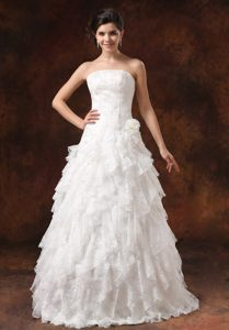 2014 Strapless Long Appliqued Wedding Dress with Ruffles and Flower