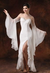 Bateau Long Sleeves High-low Chiffon Wedding Dresses with Beading and Slit