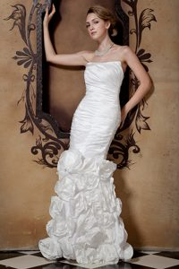 Strapless Long Ruched Wedding Dress with Flowers for Cheap