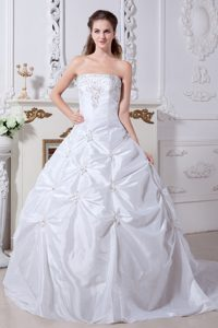 Chic Strapless Court Train Wedding Dress with Beading and Pick-ups