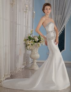 Mermaid Brush Train Strapless Ruched Wedding Dresses with Beading