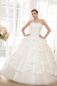 Sweetheart Ball Gown Long Wedding Dresses with Layers and Beading
