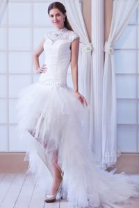High-neck High-low White Wedding Dress with Ruffles and Beading for Cheap