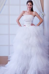 Special Strapless Brush Train Tulle Wedding Dresses with Ruffles and Beading
