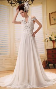 Halter off-the-shoulder Court Train Wedding Dress with Beading and Ruching