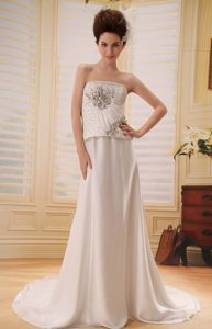 Cheap Champagne Strapless Court Train Ruched Wedding Dress with Beading
