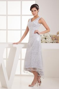 V-neck Tea-length Special Fabric Sequin Silver Wedding Dress on Promotion