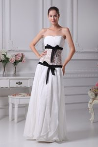 Chichi Strapless Long Chiffon Wedding Dress with Lace and Black Sash