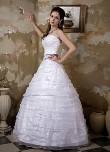 Strapless Princess Long Layered Organza Wedding Dress with Appliques