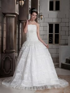 Custom Made Strapless Court Train Special Fabric Wedding Dress with Layers