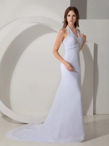 Halter-top Dress for Wedding with Appliques and Court Train