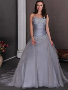 Ruched and Appliqued Wedding Dress with Sweetheart in Gray for Spring