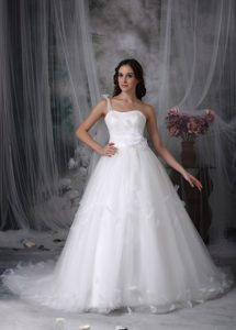 One Shoulder Affordable Beaded Tulle Wedding Dresses with Watteau Train