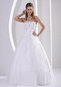 Cute Organza A-line Strapless Wedding Dresses with Appliques and Beading