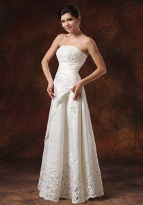 Empire Strapless Custom Made Lace Wedding Gown Dress with Clasp Handle