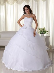 Pretty White Ball Gown Sweetheart Long Wedding Dresses in Organza