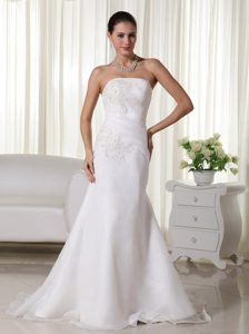 Mermaid Strapless Brush Train Sweet Wedding Dresses and Organza
