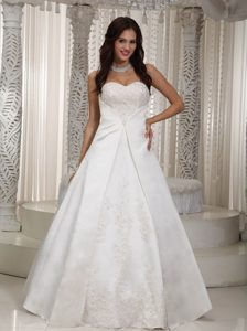 A-line Sweetheart Long Satin Lace Wedding Dress for Wholesale Price