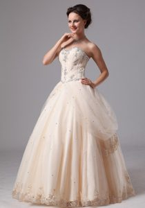 Custom Made Sweetheart Lace Appliqued Dress for Wedding in Champagne