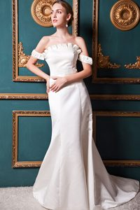 A-line Off The Shoulder Court Train Perfect Fitted Wedding Dresses