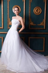 Beautiful A-line Strapless Beaded Organza Wedding Dress with Chapel Train
