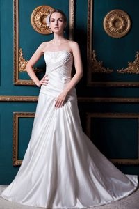 A-line Strapless Court Train Cheap Wedding Dresses with Appliques