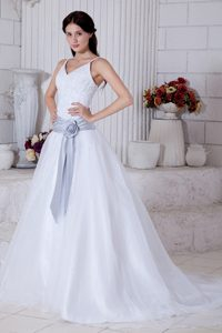 Straps Court Train Organza Cute Wedding Dress for Cheap with Court Train