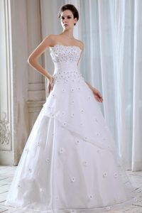 Strapless Long Tulle Wedding Dresses with Appliques on Promotion