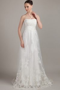 White Cheap Strapless Brush Train Wedding Dresses with Appliques