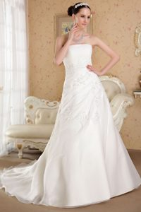 Elegant Princess Strapless Court Train Organza Wedding Dress with Beading