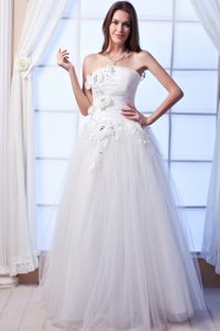 Pretty A-line Strapless Long Beaded Flowers Wedding Dresses