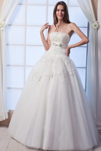Strapless Long Tulle Perfect Wedding Dress with Beading and Flowers