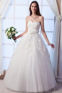 A-line Sweetheart Long Tulle Cheap Dress for Wedding with Flowers
