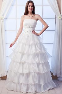 Affordable A-line Strapless Beaded Long Wedding Dress in Organza