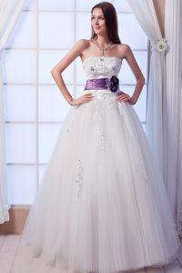 Strapless Long Tulle Cheap Wedding Dress