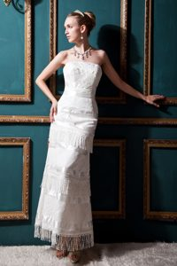 Strapless Tea-length Low Price Wedding Dresses in Special Fabric