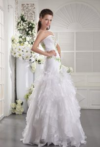 Strapless Long Wedding Dresses in Organza on Promotion