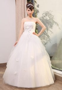 Strapless Tulle Long Pretty Wedding Dress with Beading and Flowers