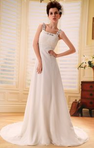 Pretty Beaded Square Court Train Court Train Wedding Dresses
