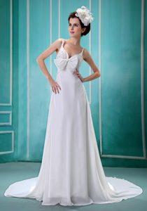 White Chiffon Beaded Nice Court Train Wedding Dress with Spaghetti Straps