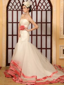 Watermelon Red Mermaid Sweetheart Low Price Wedding Dresses with Belt