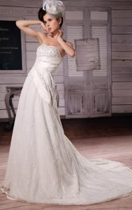 Beaded Court Train A-line Wedding Dress with Appliques in on Sale