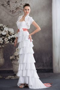 Sweetheart Flowers Decorate Brush Train Wedding Dresses with Bowknot