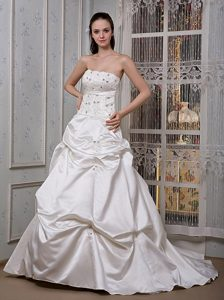 A-line Strapless Court Train Wedding Dresses with Appliques and Beading