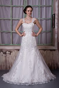 Cute Beaded Straps Court Train A-line Wedding Dress in and Lace