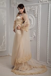 Strapless Inexpensive Wedding Dress for Summer in Champagne