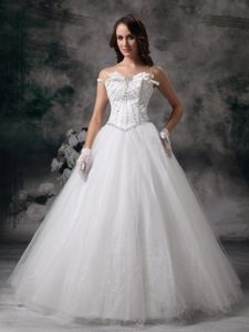 A-line Strapless Long Tulle Wedding Dresses with Beading on Sale