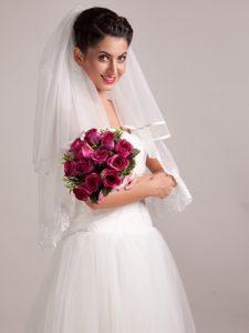 Elegant Rose Red Hand-tied Wedding Bridal Bouquet